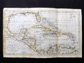 Guthrie 1788 Antique Hand Col Map. West Indies from the best Authorities